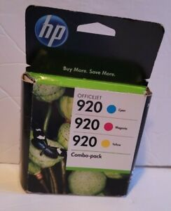 HP 920 Color Cyan Magenta Yellow OfficeJet Ink Cartridge EXP 2012