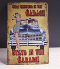 What Happens in the Garage Retro Tin Signs Metal Plate Wall Decor Poster