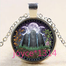 Celtic Stone circle Cabochon Tibetan silver Glass Chain Pendant Necklace #3648