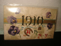 Vintage Antique 1910 New Years embossed dated cover postcard rare