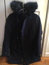 Navy Blue Wool Toggle Coat With Fur Hood Size S