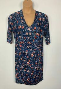 WOMENS PER UNA M&S BLUE PRINT V NECK CASUAL STRETCH A LINE DRESS PLUS SIZE UK 22