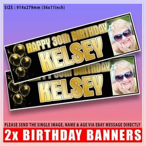 2 Personalised Birthday PHOTO Banner Gold Party Balloon -18th 21st 30th 40th