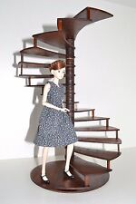 Spiral staircase Stair 1:6 Barbie FR Furniture for Doll 12 inches wood Diorama