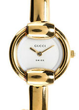 AUTH GUCCI Gold Plated Stainless Steel 1400L Thin Bangle Wrist Watch MHL WC5420