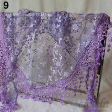 1X Fashion Women Floral Knit Lace Tassel Shawl Wrap Silk Large Scarves Mantilla