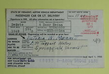 1949 Springfield Vermont Motor Vehicle Department Registration Operator License