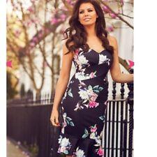 Jess Wright @ Lipsy & Co Sistaglam Black Floral Bodycon Flippy Hem Dress BNWT 10