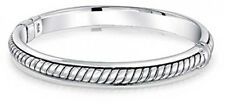 925 Sterling Silver Twisted Cable Rope Stackable Bangle Bracelet for Women 7inch