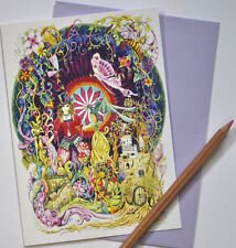 Greetings card drawn and printed in the UK drumming hippy hippie Steampunk Pagan