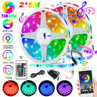 2*16.4Ft Bluetooth LED Strip Lights Waterproof 5050 RGB Music Sync APP Control
