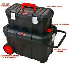 2 IN 1 Large Rolling Heavy Duty Mobile Tool Storage Box Chest On Wheels quality!