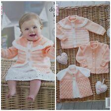 KNITTING PATTERN Baby Cardigans & Matinee Jacket Cherish DK King Cole 5216
