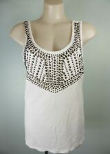 REDUCED!! white heavily beaded SUSSAN singlet cami tunic top sz M 10