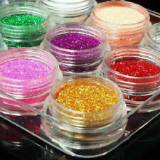 Nail Art Set 12 x Glitter Glitzer Flitter im Döschen TOP große Pailletten T4U1