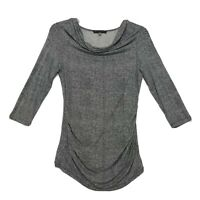 Rose & Olive Ruched Sides Knit Tunic Top Womens Sz L Large Cowl Neck 3/4 Sleeve