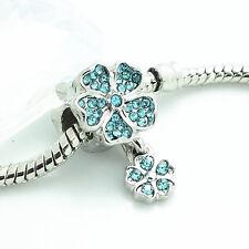 Blue 1pcs Silver CZ European Charm Beads Fit 925 Necklace Bracelet Pendant DIY