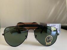 Ray-Ban RB3422Q 002 Aviator Black Frame Green Lenses 58mm Lens Sunglasses