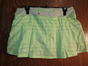 Lululemon 10 Pace Rival Skirt Clear Mint Gray Lime Deauville Stripe EUC!