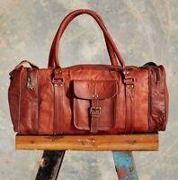 "New 24"" Men's Genuine Leather Brown Travel Gym Sport Luggage Weekend Duffle Bag"