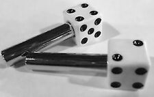White Dice Door Lock Knob Pair ford chevy dodge moon mooneyes A Sled dragger rat