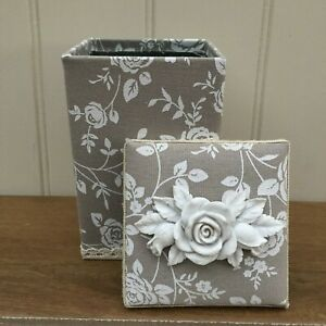Taupe and White Rose Fabric Covered Tin Trinket Storage Box With Rose Detail Lid