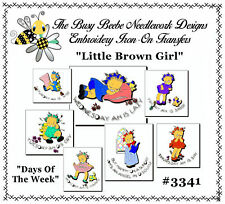 #3341 - Little Brown Girl Days Of Week Embroidery Hot Iron Transfers - Vintage
