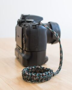 Handmade Camera Wrist Strap Green Camo Urban Paracord lanyard- DSLR digital film