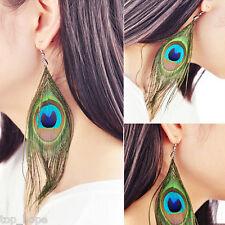 1 Pair Retro Women Bohemia Dangle Drop Peacock Feather Earring Fashion Jewelry