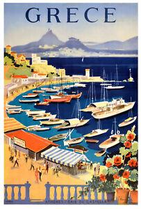 Greece boats europe Vintage Framed Canvas art painting wall decor illustration