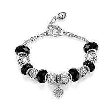 Black Charm Bracelet Embellished with Crystals from Swarovski® in Gift Box