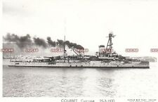 """French Navy Real Photo Postcard. """"Courbet"""" Battleship. Reconfigured! Fine! 1930"""