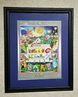 Charles Fazzino 24th Anniversary of 24 Hour Fitness Framed Poster 2007 Rare
