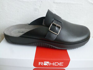 Rohde Men's Mules Clogs Sabot Black Leather 1970 New