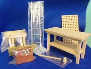 Dollhouse Miniature 1:12 Scale Workbench - Garage Bundle