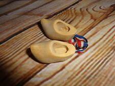 "Vintage Miniature Wood Wooden Clogs Shoes 1.5"" Netherlands Flag Ribbon"