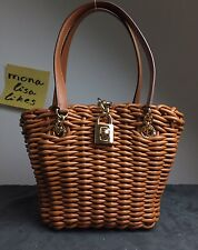 New DOLCE & GABBANA Brown LEATHER Sicily Wicker Woven Basket Tote Bag w Padlock