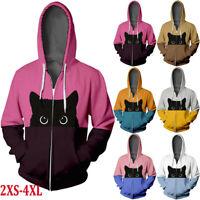 Women's Cat Printed Hoodie Hip Hop Zipper Outers Color Splicing Long Sleeve Coat
