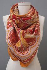 Vismaya Square Orange Red Yellow 100% Silk Scarf Paisley Sold @ Anthropologie