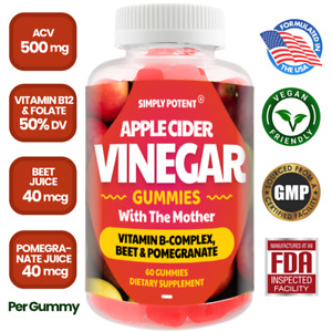 Apple Cider Vinegar Gummies w the Mother, ACV for Detox Cleanse & Weight Loss