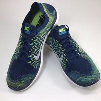 Nike Free 4.0 FlyKnit Running Shoes Workout 717075 Blue Green Men's 10.5