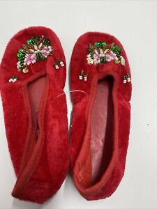 Child Chinese Handmade Embroidered Floral Velvet Slippers Indoor Shoes Size 22