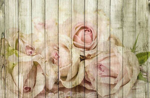 Framed Print - Pink White Roses Wooden Panel Effect (Flower Picture Floral Art)