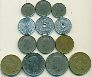 13 DIFFERENT COINS from GREECE (13 TYPES/8 DENOMINATIONS/OLDEST DATES 1926)