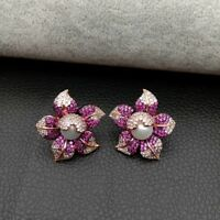 Cz Pave Pearl Earrings White Pearl Rose Gold Plated Cz Flower Stud Earrings