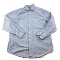 Banana Republic Mens Blue Striped Button Front Casual Dress Shirt L