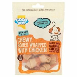 Good Boy Chewy Chicken Wrapped Bones Natural Mini Treats for Dogs 7 Pack Rewards