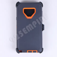 For Samsung Galaxy NOTE 9 Gray/Orange Defender Case with(Clip Fits Otterbox)
