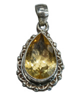 Sterling Silver Traditional Asian Vintage Style Yellow Quartz Stone Pendant Gift