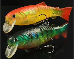 2PCS Soft Fishing Lure Soft Tail Bait Crankbait Soft Plastic Swimbait Bass Perch